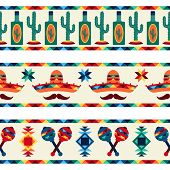 stock photo of mexican fiesta  - Mexican seamless borders with icons in native style - JPG