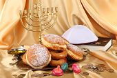 stock photo of hanukkah  - Festive composition for Hanukkah on cloth close - JPG