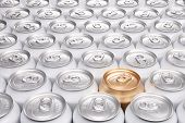 pic of differential  - One Gold Can Among a Group of Aluminum Beverage Cans - JPG