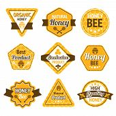 stock photo of beehives  - Honey best high quality organic products labels set isolated vector illustration - JPG