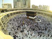 stock photo of kaaba  - Muslim people praying at Kaaba in Mecca - JPG