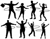 Set of editable vector silhouettes of people exercising with a hula hoop with figures and hoops as s