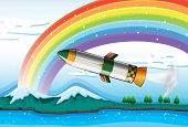 Illustration of a rainbow above the ocean and an aircraft