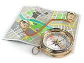 Navigation and gps concept. Compass and map. 3d