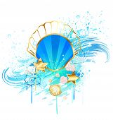 stock photo of pearl-oyster  - precious jewelry blue seashell on the background of the sea wave - JPG