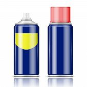 stock photo of spray can  - Blue spray can with red cap with red cap for paint - JPG