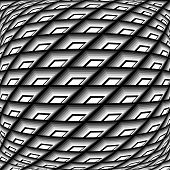 stock photo of quadrangles  - Design monochrome warped grid pattern - JPG
