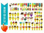 stock photo of ice cream parlor  - set of ice cream in a bowl flat vector illustration - JPG