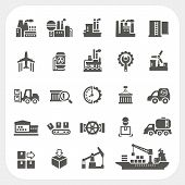stock photo of windmills  - Industry icons set isolated on white background - JPG