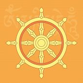 image of sanskrit  - Wheel of dharmaone of eight auspicious buddhist religious symbols vector illustration - JPG