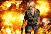 picture of breastplate  - Hot blonde woman with gun over exploding background - JPG