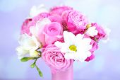 Beautiful wedding bouquet on bright background
