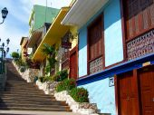 stock photo of guayaquil  - This is a stairway lined with colorful houses - JPG