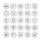 stock photo of arcade  - Flat thin line icons set modern design style vector collection of game playing awards retro gaming symbol collection play classic games on video console with game controller - JPG