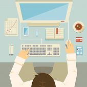 picture of mouse  - Overhead perspective of a businessman working at his desk using a desktop computer  keyboard  mouse  bank card  graph  calculator and coffee  vector illustration - JPG