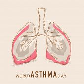 stock photo of inhalant  - World Asthma Day concept with human lungs on abstract background - JPG