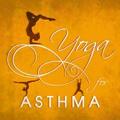 image of asthma  - World Asthma Day concept with illustration of a yoga pose and stylish text on yellow background - JPG
