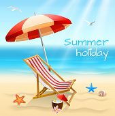image of bird paradise  - Summer holidays beach background poster with chair starfish and cocktail vector illustration - JPG