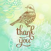 Thank you card in blue colors. Stylish floral background with text and cute cartoon bird in vector. Thank You Print Design with bokeh effect poster