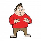 cartoon excited overweight man