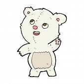 cartoon cute waving polar bear teddy