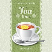 Tea card template for restaurant, cafe, bar