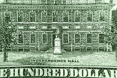 Independence hall on 100 dollar bill