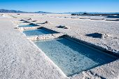 stock photo of andes  - Salinas Grandes on Argentina Andes is a salt desert in the Jujuy Province. More significantly Bolivas Salar de Uyuni is also located in the same region.
