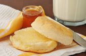 picture of buttermilk  - Hot buttermilk biscuit with jam and a glass of milk - JPG