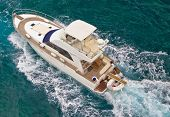 pic of yachts  - Yacht sailing on blue sea aerial view