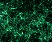 stock photo of cybernetics  - Green digital background with cybernetic particles - JPG