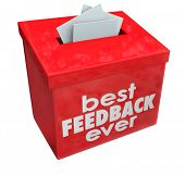picture of suggestive  - Best Feedback Ever words on red suggestion box for great comments - JPG