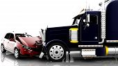 picture of accident emergency  - An accident between a red car and a truck - JPG