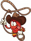picture of lasso  - Cowboy chili pepper with lasso - JPG
