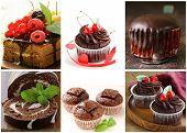 pic of chocolate fudge  - Set chocolate pastries  - JPG