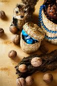 foto of walnut-tree  - Christmas decoration with walnuts cones and squirrel - JPG