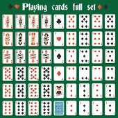 picture of ace spades  - Casino poker hazard playing cards full set isolated vector illustration - JPG
