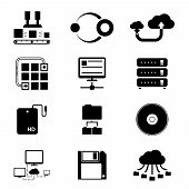 stock photo of transfer  - Vector Black Storage and Data Transfer Icons Isolated on White Background - JPG