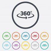 stock photo of angles  - Angle 360 degrees sign icon - JPG
