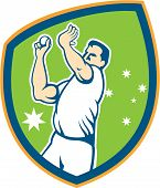 foto of bowler  - Illustration of an Australian cricket player fast bowler bowling with cricket ball set inside shield with stars in the background done in cartoon style - JPG