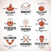 picture of witches cauldron  - Vintage Typography Halloween Vector Badges Logos or Labels Pumpkin Ghost Scull Bones Bat Spider Web and Witch Hat - JPG
