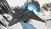 picture of fighter plane  - prototype of the future fighter aircraft invisible to radar rendered in 3d - JPG