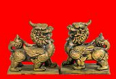 pic of phylacteries  - The Chinese talisman figurine red background statue - JPG
