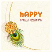 image of rakhi  - Beautiful rakhi in golden frame on floral decorated maroon with gems background for Happy Raksha Bandhan celebrations - JPG