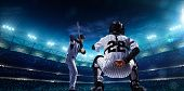 picture of hitter  - Professional baseball players on the grand arena in night - JPG