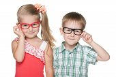 picture of clever  - Two clever little kids on the white background - JPG