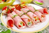 stock photo of antipasto  - ham rolls stuffed with cheese and vegetables for easter breakfast - JPG