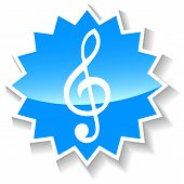 picture of treble clef  - Treble clef web blue icon on a white background - JPG