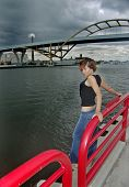 picture of top-less  - Bridge and Girl - JPG