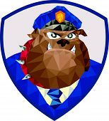 stock photo of policeman  - Low Polygon style illustration of a bulldog policeman police officer facing front set inside shield crest on isolated background - JPG